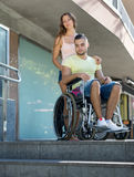Handicapped and city navigation Stock Photos