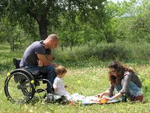 Handicapped Dad and Family royalty free stock images