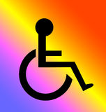 Handicapped Diversity. A black handicapped icon against a radiant multi-colored background Royalty Free Stock Images