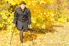 Handicapped elderly male amputee in a fall park Stock Photography