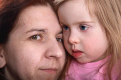 Handicapped girl with mother stock photography