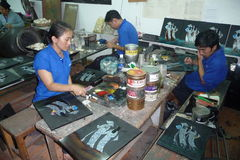 Handicapped Handicrafts makers in Vietnam Royalty Free Stock Photos