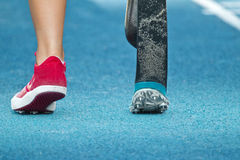 Handicapped long jumper start Stock Images