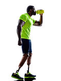 Handicapped man joggers with legs prosthesis silhouette Royalty Free Stock Photos