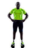 Handicapped man joggers with legs prosthesis silhouette Stock Photo