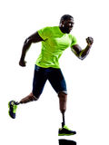 Handicapped man joggers runners running with legs prosthesis  si Royalty Free Stock Photo