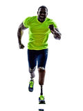 Handicapped man joggers runners running with legs prosthesis sil Royalty Free Stock Photos