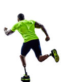 Handicapped man joggers runners running with legs prosthesis sil Royalty Free Stock Photo