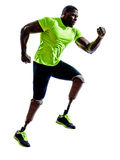 Handicapped man joggers runners running with legs prosthesis sil Stock Image
