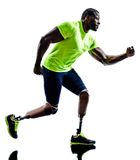 Handicapped man joggers running legs prosthesis Stock Photography