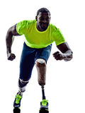Handicapped man joggers starting line legs prosthesis silhouette. One muscular handicapped man starting line   with legs prosthesis in silhouette on white Royalty Free Stock Photography