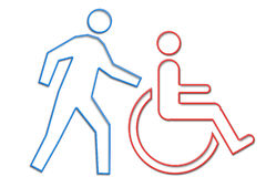 Handicapped man neon life series. Man helping person in wheelchair depicted in neon tube style illustration part of NEON LIFE SERIES royalty free illustration