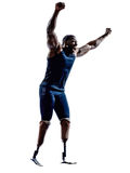 Handicapped man runners sprinters with legs prosthesis silhouett Stock Photography