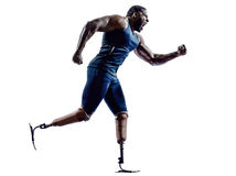 Handicapped man runners sprinters with legs prosthesis silhouett. One muscular handicapped man runners sprinters with legs prosthesis in silhouette on white Stock Photo