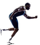 Handicapped man runners sprinters with legs prosthesis silhouett. One muscular handicapped man runners sprinters with legs prosthesis in silhouette on white Royalty Free Stock Image