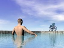 Handicapped man at the swimming pool - 3D render Royalty Free Stock Images