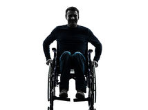 Handicapped man in wheelchair smiling friendly silhouette Stock Image