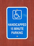 Handicapped 15 Minute Parking Sign Royalty Free Stock Photos