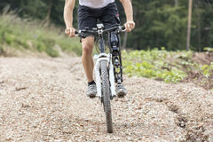 Handicapped Mountain Bike Rider Track Royalty Free Stock Image