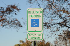 Handicapped no parking sign Stock Image