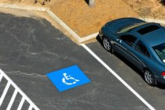Handicapped parking. A view looking down onto a parking lot where only handicap vehicles are allowed to park Stock Images