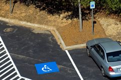 Handicapped parking. A view looking down onto a parking lot where only handicap vehicles are allowed to park Royalty Free Stock Photography