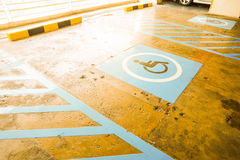 Handicapped parking lot Royalty Free Stock Image