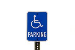Handicapped Parking Sign. Isolated handicapped parking sign. Very clean sign royalty free stock photos