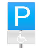 Handicapped parking sign. A traffic sign, parking for handicapped people isolated on white background with outline and pillar Stock Photo