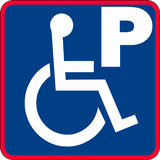 Handicapped parking sign illustration. In blue with a red boarder vector illustration