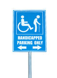 Handicapped parking only sign isolated on white background.  royalty free stock photos