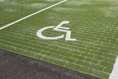 Handicapped parking. Handicapped sign in parking lot Stock Photo
