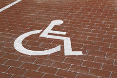 Handicapped parking. Handicapped sign in parking lot Royalty Free Stock Image
