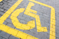 Handicapped parking sign, tilted view Royalty Free Stock Photos