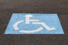 Handicapped Parking Space Closeup Royalty Free Stock Photo