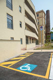 Handicapped parking space in new building Stock Image