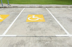 Handicapped parking symbol on floor royalty free stock photography