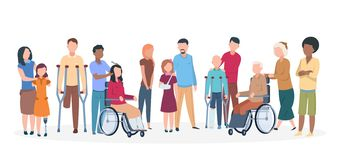 Handicapped people. People with disabilities happy friendly family. Disable injury persons with assistants. Vector characters stock illustration