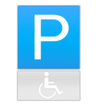 Handicapped people parking sign. Sign for handicapped parking isolated on white background with outline Royalty Free Stock Image