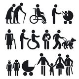 Handicapped people and seniors. Artistic illustrations of handicapped people and seniors shown in silhouette including elderly pensioners , wheelchair users Stock Photo