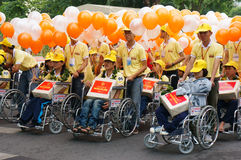 Handicapped people on wheelchair at community activity Royalty Free Stock Photos