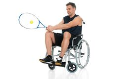 Handicapped player playing tennis Stock Images