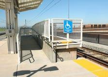 Handicapped Ramp at Light Rail Station. Handicapped ramp accommodation at light rail station royalty free stock photo
