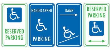 Handicapped reserved parking signs Royalty Free Stock Photo