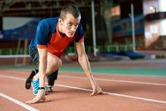Handicapped Runner on Start royalty free stock photo