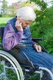Handicapped senior woman royalty free stock photography