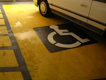 Handicapped Sign. In parking lot stock photography