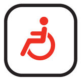 Handicapped sign. Wheel chair Sign people high resolution color red to be printed stock illustration