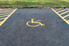 Handicapped sign in car park Stock Photos