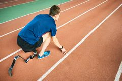 Handicapped Sportsman Ready to Run royalty free stock photo